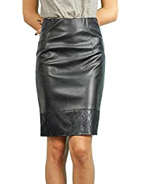 Stilvoller Damen Rock Bleistift Knielang Kunstleder Schwarz Inner Ffutter,  Größe EU 36 38 40 42 17fa43c267