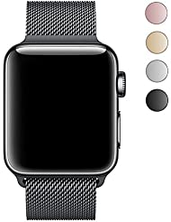 LEEHUR 38MM Cinturino in Maglia Milanese per Apple Watch serie 1, serie 2 e serie 3 Sport & Edition (Nero)