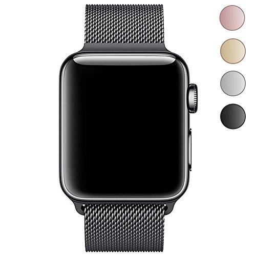 LEEHUR Für Apple Watch Armband 42mm, Milanese Schlaufe Edelstahl Smart Watch Armbänder mit einzigartiger Magnetverriegelung ohne Schnalle für Apple Watch Armband 42mm Series 1/2/3