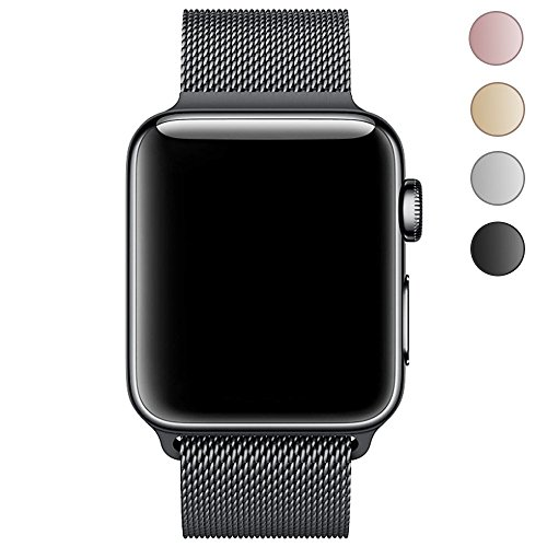 LEEHUR 42MM Cinturino in Maglia Milanese per Apple Watch serie 1, serie 2 e serie 3 Sport & Edition (Nero)