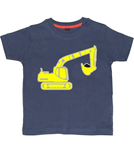 Edward Sinclair Excavator - Navy Boys T-Shirt In Size 7-8 Years With A Silver, Yellow & Black Print.