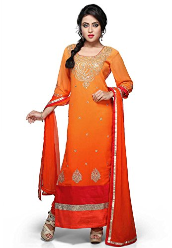 Utsav Fashion Embroidered Straight Cut Suit In Shaded Orange Colour
