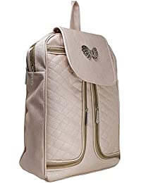 Typify Butterfly Style Casual Purse Fashion School Leather Backpack Shoulder Bag Mini Backpack for Women & Girls (Cream-Silver)