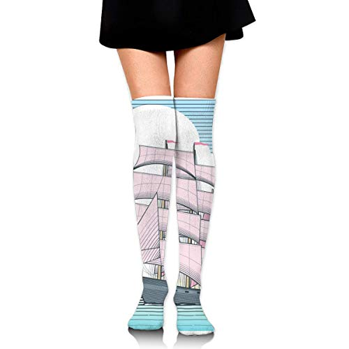 Sailboat with Scarlet Sails Customized Long Full-Length Socks - Running, Sports, Travel, Cycling, Traveling 25.6 Inchs - Scarlet Fishnet