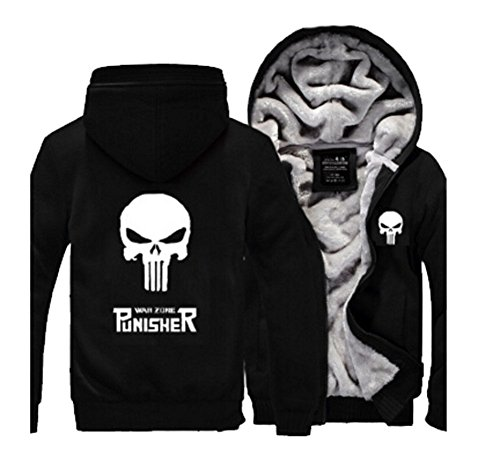 Punisher Hoodie Fuman Punisher Zip Up Pullover Cosplay Kostüm WinterJacke Black (XXL) (Punisher Cosplay Kostüm)