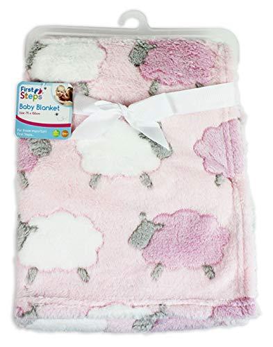 First steps morbida coperta in pile, fantasia rosa con pecore, coperta per bambini, plaid in pile, pile bebè, coperta neonato 75cm x 100cm