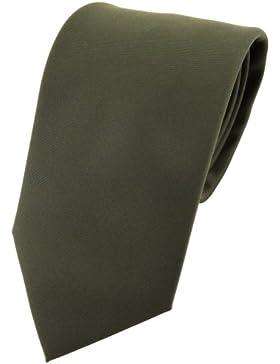 TigerTie cravatta - verde scuro oliv monocromatico Uni