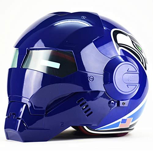wthfwm Casco da Uomo Iron Man The Avengers Marvel Legends Casco Anti-collisione Adulto Full Face Protezione per Moto Blu,Blue-XL