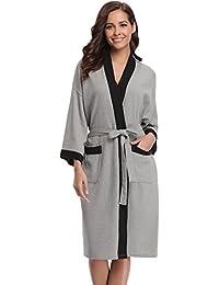 Aibrou Unisex Waffle Dressing Gown Cotton Lightweight Bath Robe For All Seasons Spa Hotel Pool Sleepwear