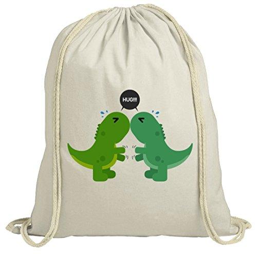 Geschenkidee natur Turnbeutel mit Dino Hug Motiv von ShirtStreet Natur