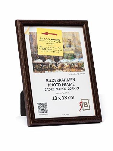 3-B Bilderrahmen JENA - dunkel braun - 13x18 - Holzrahmen, Fotorahmen, Portraitrahmen mit Plexiglas (Dunkle Holz-bilderrahmen)