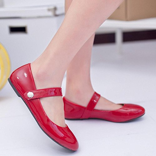 TAOFFEN Taille Chaussures Jane Scratch Rouge Decontracte Petite Mary Escarpins Femmes WIw8nrqxIC