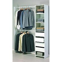 PEGANE Kit Placard-Dressing 4 tiroirs + 2 Rayons + 2 penderies en Blanc  Perle 85001225f6f