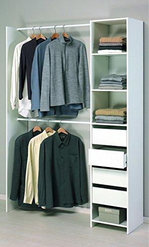 PEGANE Kit Placard-Dressing 4 tiroirs + 2 Rayons + 2 penderies en Blanc Perle, 141,5 x 203 x 39,6 cm