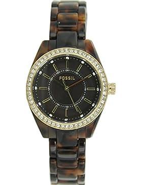 Fossil Damen Uhr Armbanduhr Resin Edelstahl Strass BQ1196