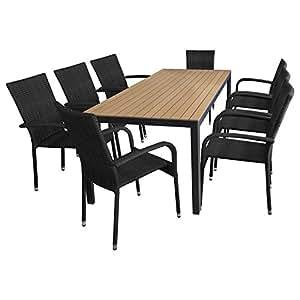 Salon de jardin 9pièces en aluminium avec table en Polywood 205x90cm et chaises en polyrotin Noir/marron