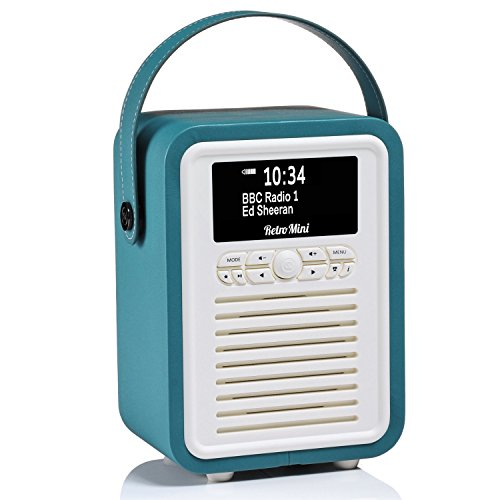 VQ Portable Retro Mini DAB and DAB+ Digital Radio with FM, Bluetooth, Aux, USB, Alarm Clock - Teal