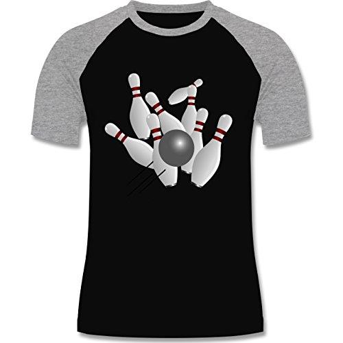 Bowling & Kegeln - Kegeln alle 9 Kegeln Kugel - zweifarbiges Baseballshirt für Männer Schwarz/Grau Meliert