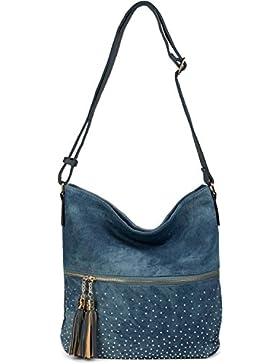 styleBREAKER Hobo Bag Jeans Tasche mit Strass, Reißverschluss Fach, Quasten Anhänger, Shopper, Umhängetasche,...