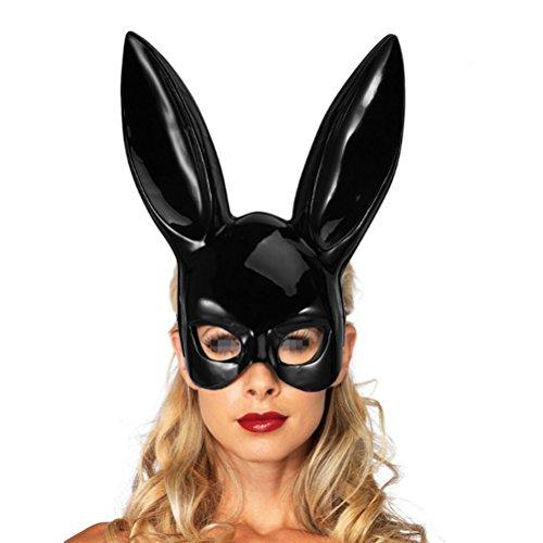LUOEM Erwachsene Bunny Maske Frauen Masquerade Kaninchen Maske Bunny Rabbit Maske für Geburtstagsfeier Ostern Halloween Bar Kostüm Cosplay Zubehör (Bright Black)