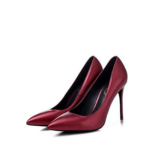 Vin rouge pointu hauts talons bien avec des chaussures professionnelles de 10cm