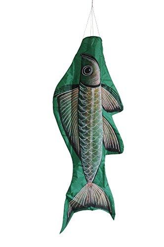 Windsack - Fisch grün, Länge ca. 120 cm, tolles Windspiel, handgefertigt in Bali, dekorativ für drinnen und draußen, wetterfest