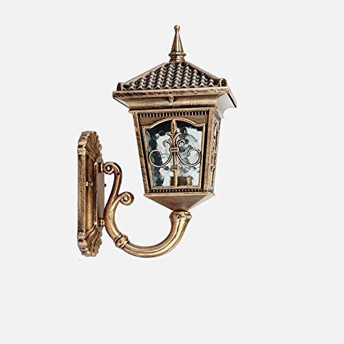 TQ Modeen Antique Classic Outdoor 1-Lichter Glas Laterne Wand Lampe Outdoor Doppel-Scheinwerfer Tradition Continental Victorian Patio Garden Villa Balkon E27 Dekoration Wand Sconce Light,Natural -
