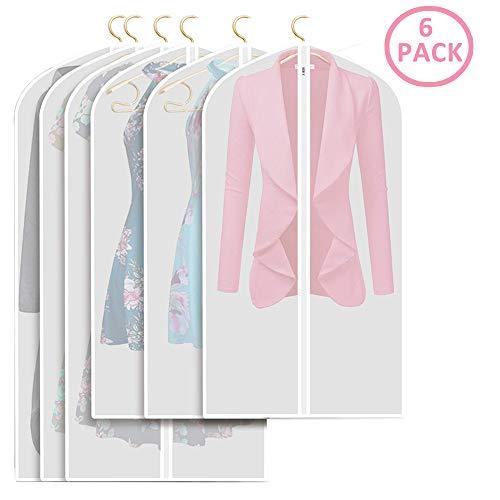 Ealicere 6 Stücke Kleidersack - inkl. von 60 * 100cm und 60 * 120cm Anzugsack Kleiderhülle Anzughülle aus atmungsaktivem Material - Erstklassiger Schutzhülle Aufbewahrung für Anzüge und Kleider -