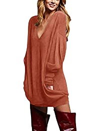 ZANZEA Mujer Jersey de Punto Largos Cuello V Manga Larga Otoño Vestidos Sudadera Casual Tallas Grandes Suéter Suelta