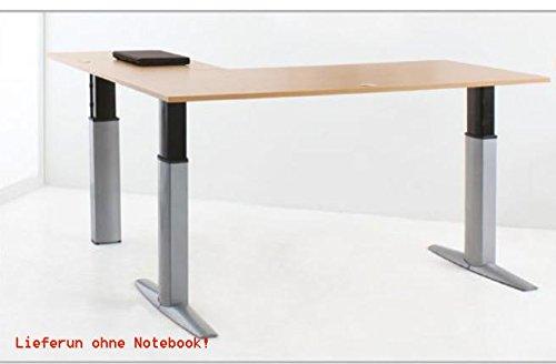 Elektrisch Verstellbarer Dreibein Schreibtisch mit Tischplatten 200x200x80cm Buchen-Optik