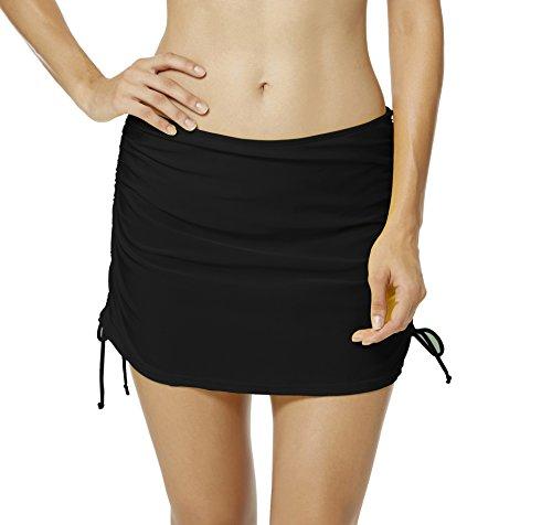 Damen Bikinirock Badeshorts Strandrock Schwimmen Rock mit Unterhosen,Schwarz,8