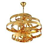 MZ Deckenmetall-Kronleuchter, LED Fashion Gold Wrought Iron Ring Whirlwind Decorative Chandelier, geeignet für Wohnzimmer, Schlafzimmer, Cafe, Restaurant