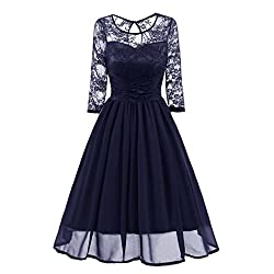 Vintage Lace Evening Party Dresses For Women,Moonuy Ladies Girl Trench estFormal Patchwork Wedding Swing Dress Fashion Casual Skirt Work Three Quarter Sleeve,xmas gifts for women