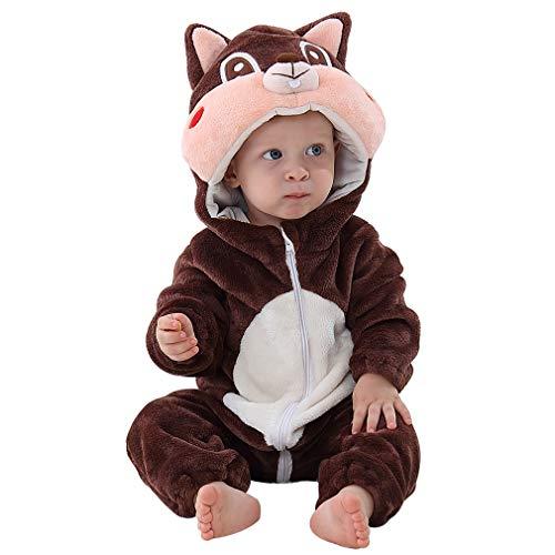 MICHLEY Baby Unisex Flanell Babykleidung, mädchen und Junge Pyjama kostüm Bekleidung für Kinder von 13-18 Monaten,Braun