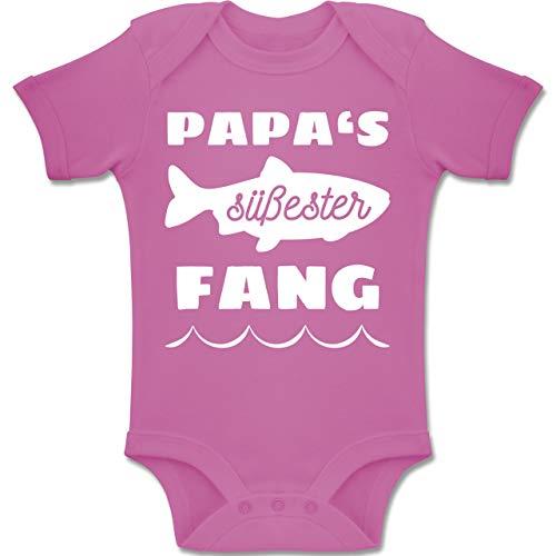 Shirtracer Sprüche Baby - Papas süßester Fang - 12/18 Monate - Pink - BZ10 - Baby Body Kurzarm für Jungen und Mädchen