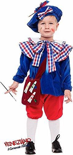 Italienische Herstellung 5 Stück Deluxe Baby & Kleinkinder Jungen Französisch Künstler + Tasche Karneval um die Welttag des Buches Woche Kostüm Kleid Outfit 1-3 Jahre - 1 year (Künstler Kostüm Kleinkind)