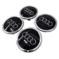 Premium Black Silver design Audi wheel center cap set