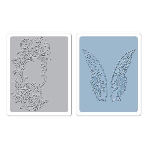 Sizzix Flourish und Flügel Set by Tim Holtz Textur Fades Prägefolder, mehrfarbig, 2Stück (Prägefolder-set)