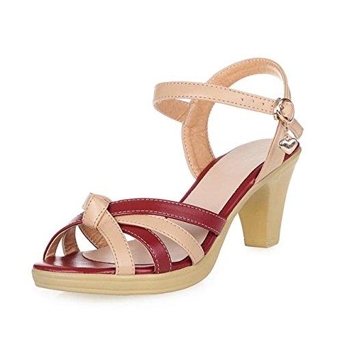 XY&GKSandales femmes sandales d'été Chaussures Cuir Femme avec taille mère épais avec semelles épaisses All-Match Middle-Aged Sandales Fashionista Claret