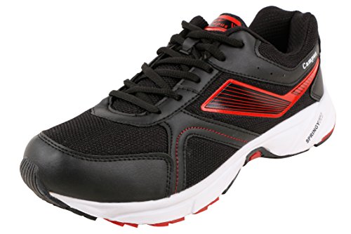 Action Campus Men's Black Silver Red Colour Springy Fit Synthetic and Nylon Mesh Running Shoes 9UK