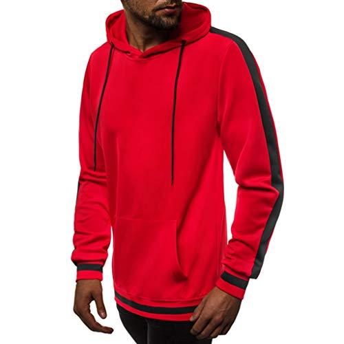 Extra off Herren Hoodies, Evansamp Solide Langarm Pullover Herbst Winter Freizeit Sweatshirt Ourwear Top Bluse Trainingsanzüge (Red5, XXXL)