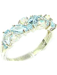 Unusual Solid Sterling Silver Natural Fiery Opal & Aquamarine Eternity Ring