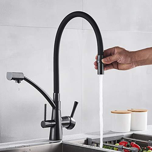 Schwarz Bronze Spüle Wasserhahn Reines Wasser Filter Mixer Kran Dual Griffe Reinigung Küche Warmen Und Kalten Wasserhahn -