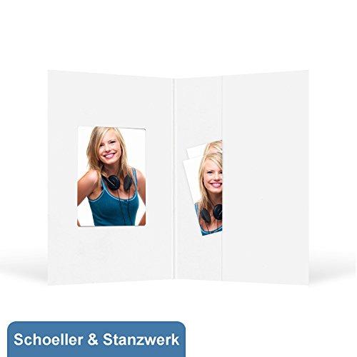 100 Stück Passbildmappen für 3,5x4,5 cm - weiß mit Tasche und Ausschnitt - Schoeller & Stanzwerk