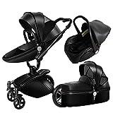 Kinderwagen, Leder-Zwei-Wege-Auto 360-Grad-Falten Schock kann sitzen Baby Baby liegen,C