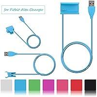 Fitbit cargador de alta, ifeeker USB cargador de 1m/3,3pies único montaje sin tornillos 7colores de recambio (verde, negro, rosa, rojo, blanco, azul, morado] Cable de carga con función Reset para Fitbit alta Smart Fitness Tracker