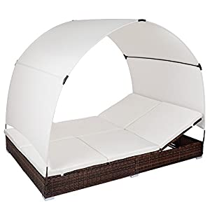 TecTake Aluminium Rattan Sun Lounger 2-Person with roof - adjustable