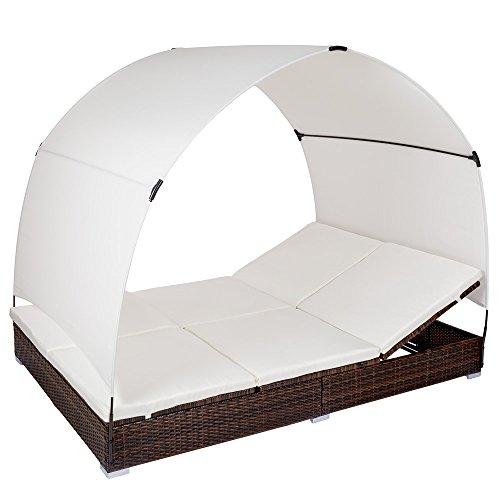 TecTake 800171 - Poly Rattan Lounge Liege mit Sonnendach, Platz für 2 Personen, Robustes Gestell...
