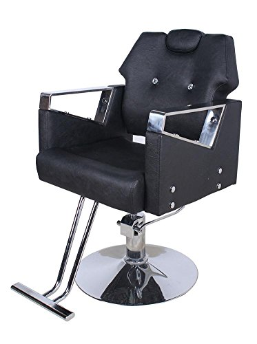 Barber Chair Reclining Hydraulic Barber Chair PU Leather Styling Salon Work Station Shampoo Tool (Black)