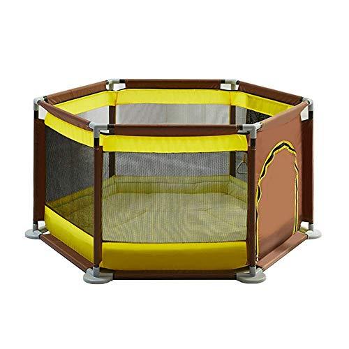 Parc- pour Bébé avec Matelas 6 Panneaux pour Bambins pour Enfants Portail De Sécurité pour Enfants Sécurité Intérieure (4 Couleurs) (Couleur : Coffee Color Yellow)